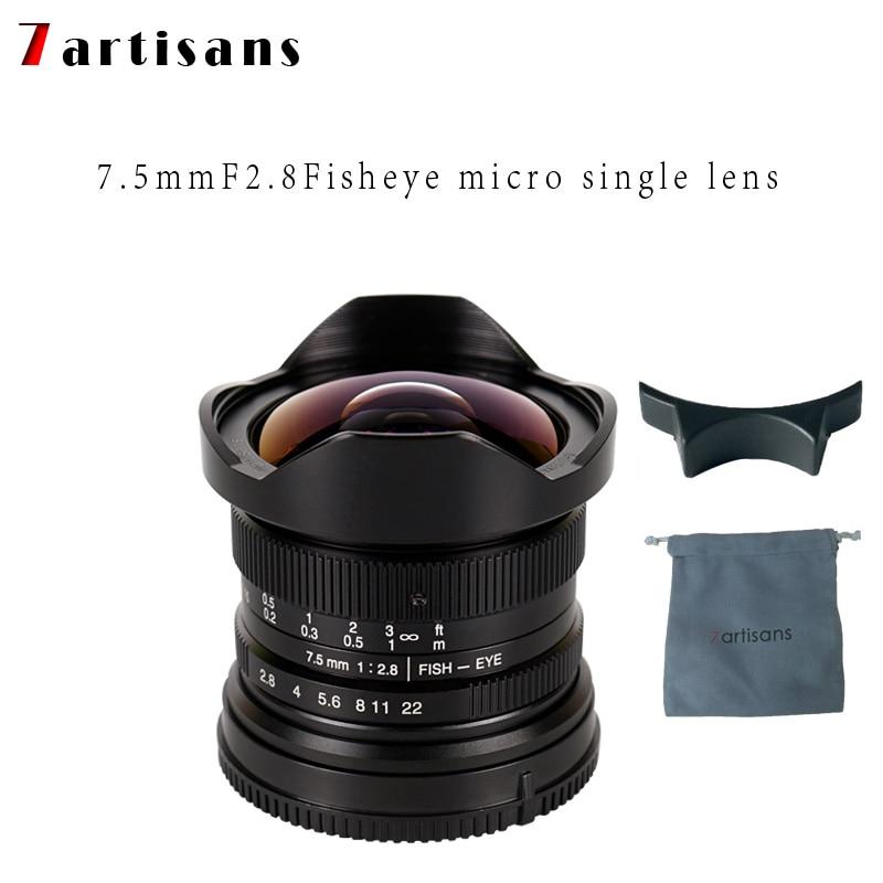 7 artesanos 7,5mm f2.8 lente fisheye 180 APS-C Manual lente fija para E montaje Canon EOS-M Monte Fuji FX montaje Venta caliente del envío libre