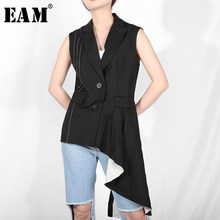 [EAM] 2019 New Spring Summer V-collar Sleeveless Black Burr Irregular Split Joint Line Ruffles Vest Women Fashion Tide JR43(China)
