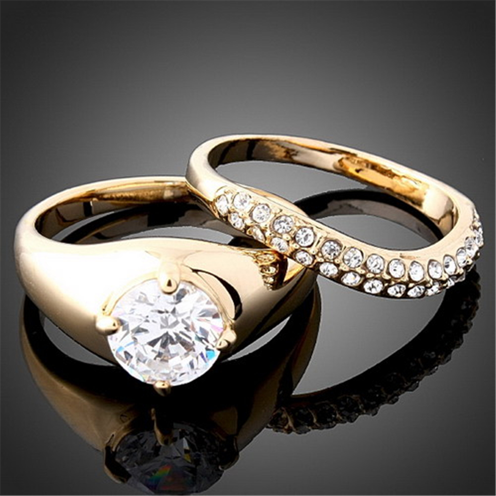 Set ) Goldcolor Rings Set Aaa Cubic Zirconia Top Quality