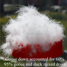 shipping95% белый гусиный пух и утка смешанной вниз/Гусь составили для 60%/fill power 720/одеяло куртка наполнитель/0,5 кг Цена