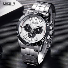 MEGIR Mens Business Chronograph Quartz Watches Stainless Steel Waterproof Luminous Dress Wristwatch Man Relogios 2087 White