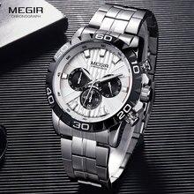 Megir negócios masculino cronógrafo relógios de quartzo aço inoxidável à prova dwaterproof água vestido luminoso relógio pulso homem relogios 2087 branco