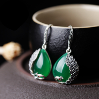 A pairs natural stone high quality 925 sterling silver retro cartoon animal peacock green Chalcedony long earrings women jewelry