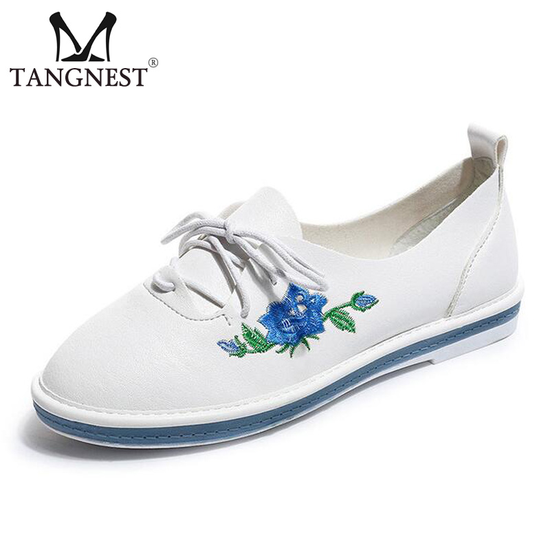 цены  Tangnest NEW Embroider Women Flats Casual Flower Printed Ballet Flats Solid PU Leather Leisure Shoes Woman Size 35~40 XWC1233