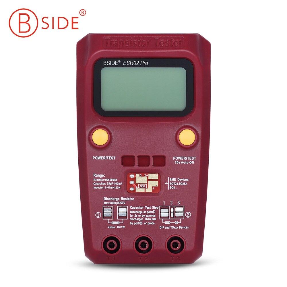 BSIDE ESR02 Pro Digital Transistor Tester Diode Triodes Thyristors Capacitance Resistance Chip Component Inductance Meter high precision digital capacitance inductance meter auto ranging component tester 500kh lc rc oscillation inductance multimeter