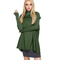 Europe And The United States Women S Shirt Sleeved Turtleneck Color Bat Sleeve Head Sweater New