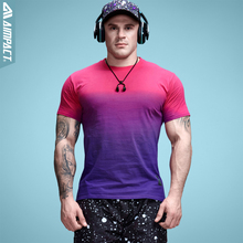 Aimpact Для мужчин хлопок градиент Футболка Фитнес футболка Для мужчин 2017 брендовая одежда хип-хоп Tie Dye футболка Homme экипажа Средства ухода за кожей Шеи Футболка Майки