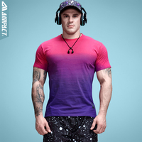 2017 New Aimpact Cotton Tie Dye Mens T Shirts Candy Color Gradient Tie Dye Short Sleeve