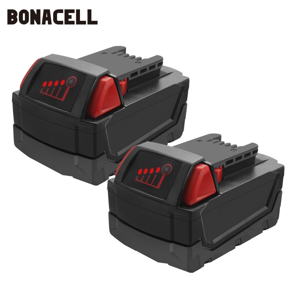 Bonacell 18 V 6000 mAh M18 XC Li-Ion batterie de remplacement pour Milwaukee 48-11-1815 M18B2 M18B4 M18BX L30Bonacell 18 V 6000 mAh M18 XC Li-Ion batterie de remplacement pour Milwaukee 48-11-1815 M18B2 M18B4 M18BX L30
