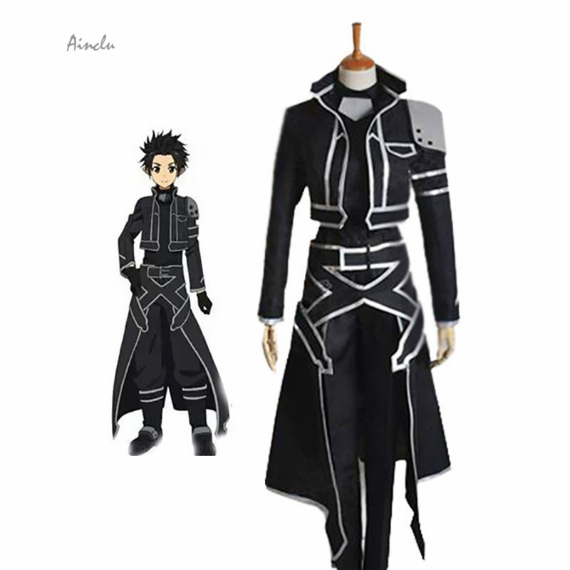 Ainclu Customize Free Shipping Costume Sword Art Online Kazuto Kirigaya ALfheim Online Black Cosplay Costume For adult costume