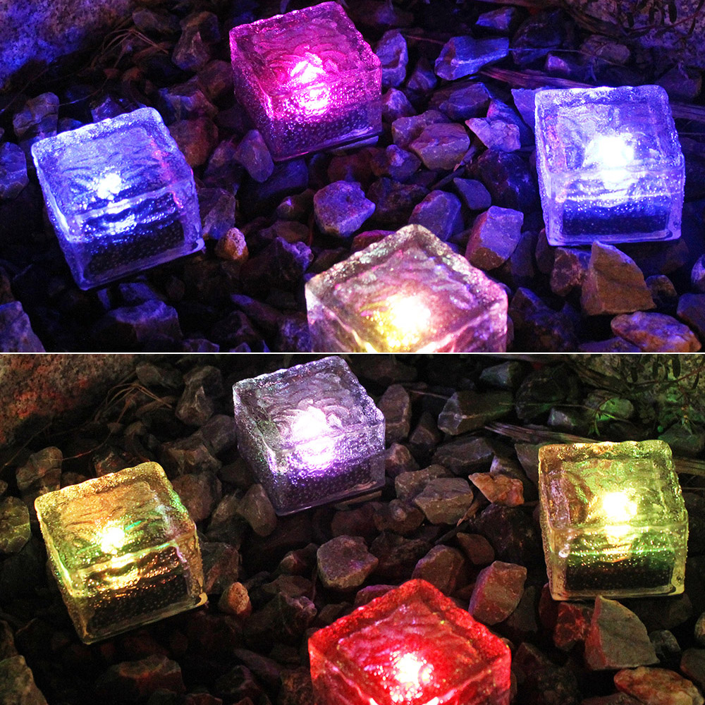 Tomshine 4Pcs Wholesale Solar Power LED Ground Crystal Glass Ice Brick Shape  White Outdoor Yard Garden Deck Road Lamp Light In Solar Lamps From Lights  ...