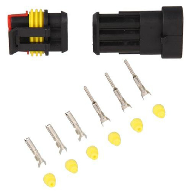 Dewtreetali 10 Set Kits Car Auto 3 Pin Way Waterproof Electrical Wire Cable Connector Plug Set Car Truck Free Shipping