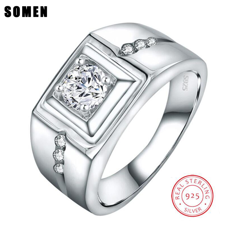 Somen Luxury Series Silver 925 Jewelry Cubic Zironical Men Wedding Engagement Rings Anel Masculino Couple Rings Free Engraving vanaxin 925 sterling silver rings for men jewelry iced out cz crystal anel masculino joias engagement wedding rings bague homme