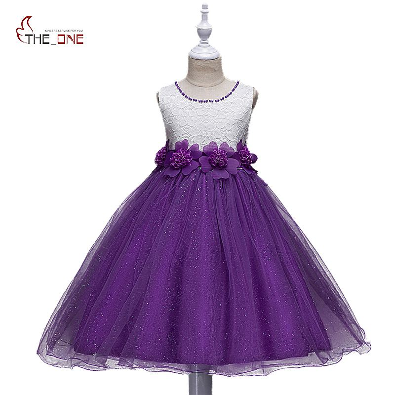 MUABABY Flower Girls Dresses Summer Kids Beadings Princess Party Wedding Dress Girl Prom Ball Gown Costume Children Sundress flower girl dresses for kids new girls summer full dress for party and wedding teenagers sundress fancy clothes princess costume