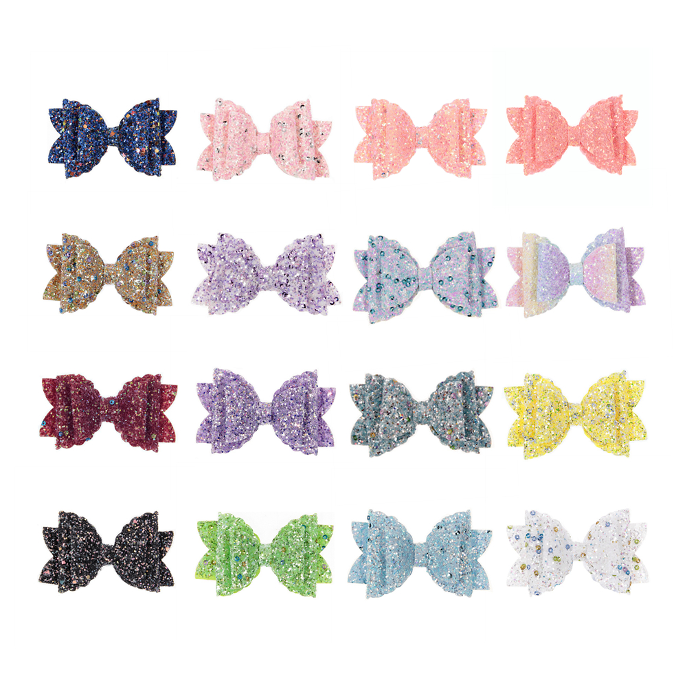 New 3pcs/lot Boutique Sequin Shiny Hair Bows For Baby Girls Headbands Hair Clips Diy Women Kids Headwear Hair Accessories