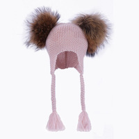 Kids Real Fur Pom Pom Hat Baby Winter Crochet Earflap Hat Girls Boys Knitted Beanie Double Two Real Fur Pompom Hat for Children