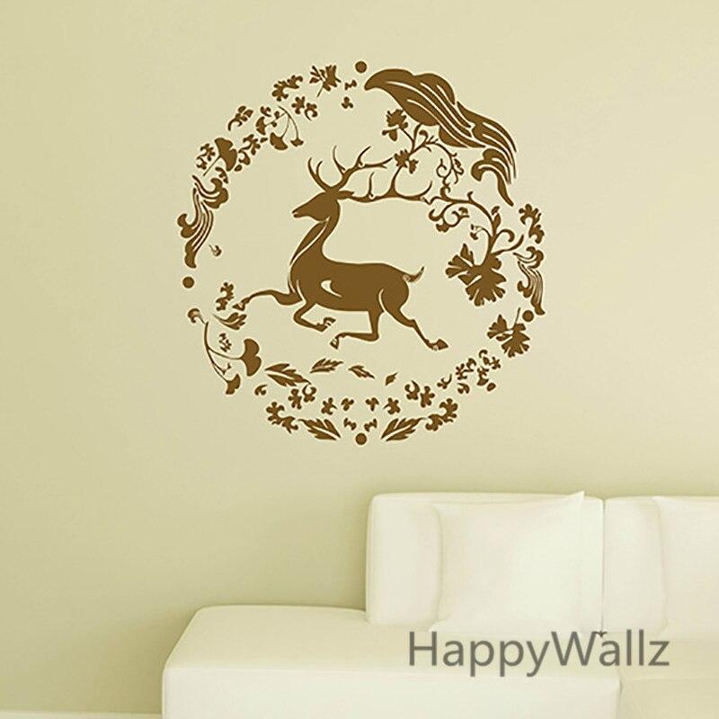 Deer Wall Sticker DIY Christmas Decor Deer Circle Animal Wall <font><b>Decal</b></font> Kids Room Decorative Easy Wall Decors A23