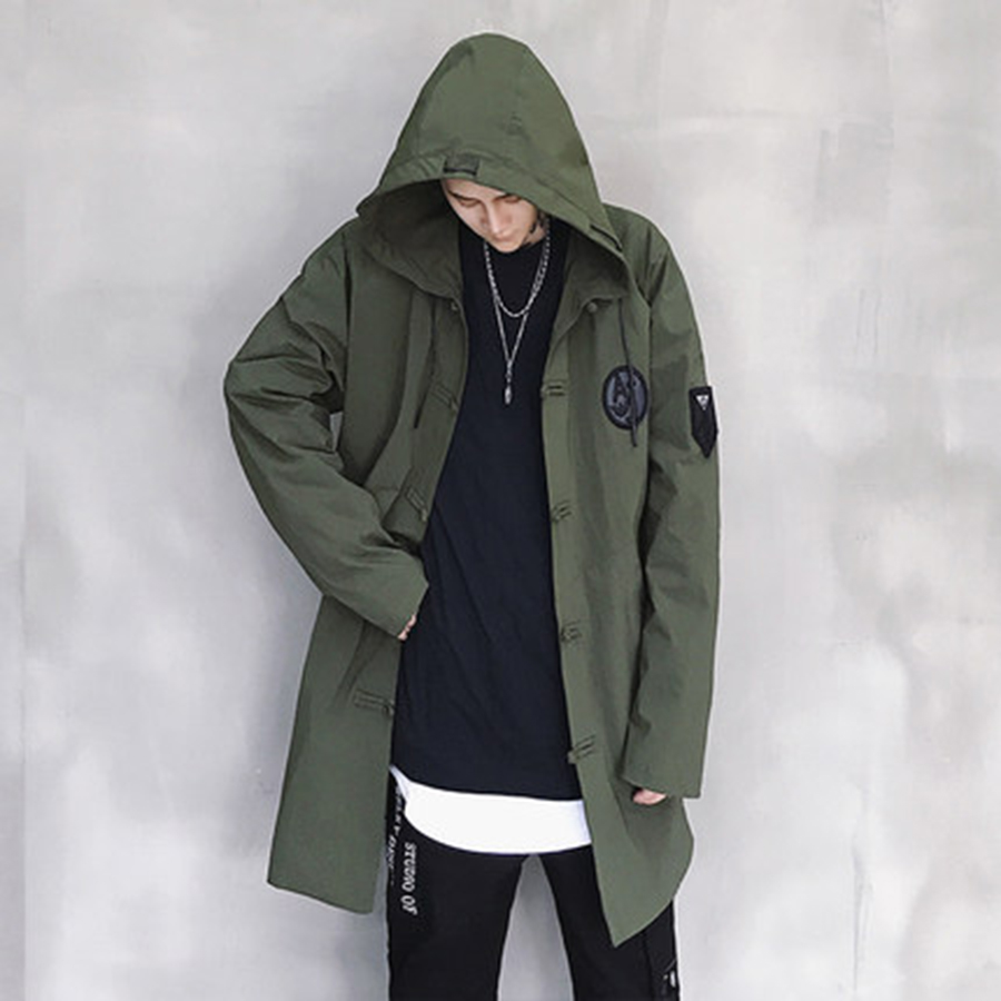 Long Hooded   Trench   Coat Men ArmyGreen Hip Hop Harujuku Male   Trench   Coat Japanese Streetwear Vintage Long Jacket Korean Men