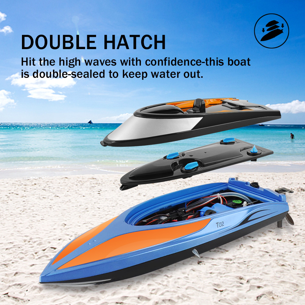High Speed RC Boat T02 2 4GHz 4 Channel 30km h Racing Remote Control Boat with LCD Screen For Children Toys Kids in RC Boats from Toys Hobbies