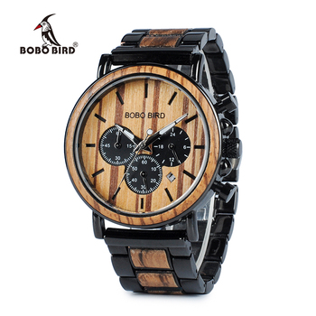 BOBO Chronograph Wooden Military Quartz Watch
