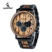Деревянные наручные часы от BOBO BIRD, мужские наручные часы, роскошные стильные деревянные часы, хронограф, военные кварцевые наручные часы в деревянной подарочной коробочке