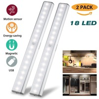 Cabinet Lights Closet Lights Motion Sensor 18 LED USB Rechargeable Wireless Cabinet Lighting Magnetic Stick Emergency 2 Pack