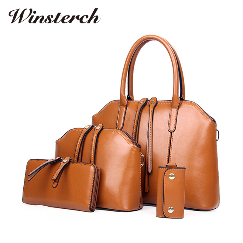 2017 Women font b Handbags b font font b Sets b font Vintage PU Leather Female