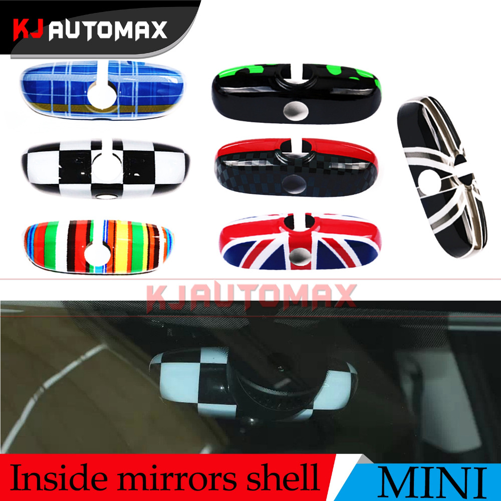 2017 New~Car Interior Rearview <font><b>Mirror</b></font> Cover Shell For Mini Cooper F55 F56 JCW Green England Blue Rainbow accessories stickers