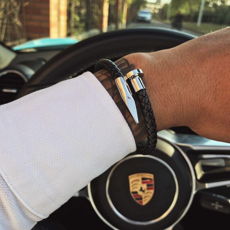 Mcllroy pulsera de los hombres de cuero genuino/acero inoxidable/acero/lujo/de la pulsera de los hombres de oro encanto de hecho a mano de la joyería de los hombres erkek bileklik