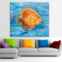 100%Handpainted Abstract Golden Fish Oil Painting On Canvas Wall Pictures Animal Paintings For Living Room Home Decor