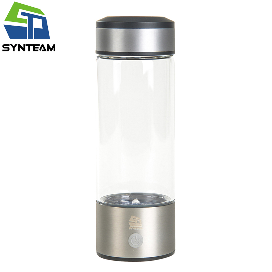SYNTEAM Brand Water Ionizer 380ml Glass Hydrogen Rich Water Maker Alkaline Healthy Water Bottle Hydrogen Generator WAC012 2 pcs lot home use hydrogen rich water ionizer maker ac110 240v
