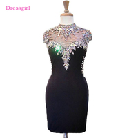 Black 2017 Elegant Cocktail Dresses Sheath Cap Sleeves Short Mini Beaded Crystals Open Back Homecoming Dresses