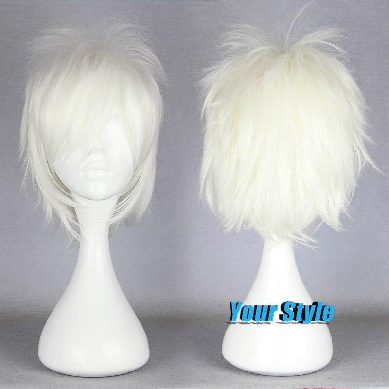 35cm Short White Curly Pixie Boy Cut Wig Female Hairstyles