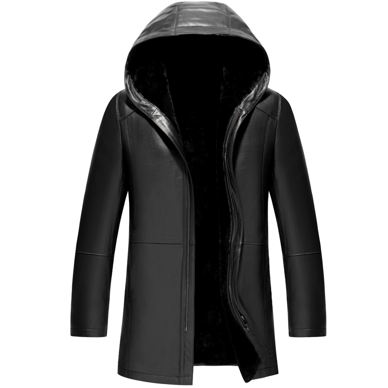 Veste Parka Wool Long Lining Hooded Cuire Jas Echt Leren Homme Excellent-Quality