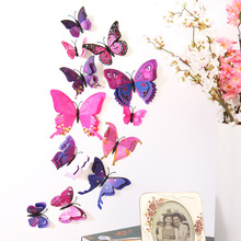 12pcs/lot 3D Butterfly PVC Wall Stickers Double Layer Butterflies Decals colorful Fridage Decor  Home Decoration Free Shipping