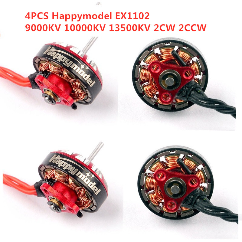 4PCS/Lot Happymodel EX1102 9000KV 10000KV 13500KV 2-3S Brushless Motor Original for Mobula7 HD RC Drone Spare Part DIY Accs