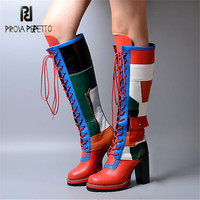 Prova Perfetto Patchwork Women Knee High Boots Chunky High Heel Lace Up High Boots Winter Genuine Leather Platform Shoes Woman