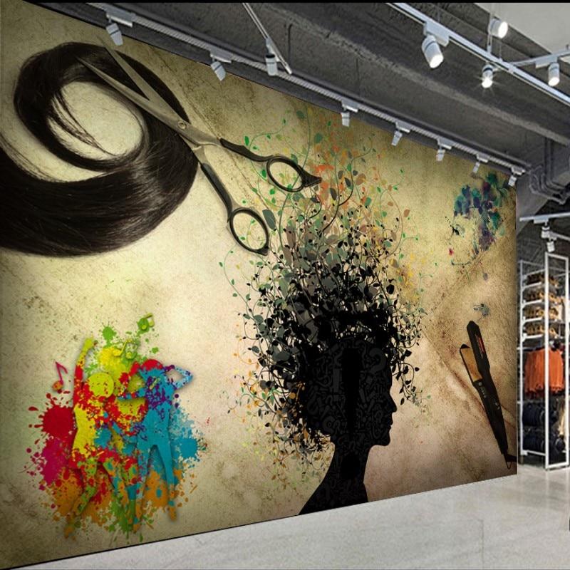 Custom 3d wallpaper  Nostalgic style graffiti hair salon decoration wallpaper custom high quality background mural 自宅 ワイン セラー