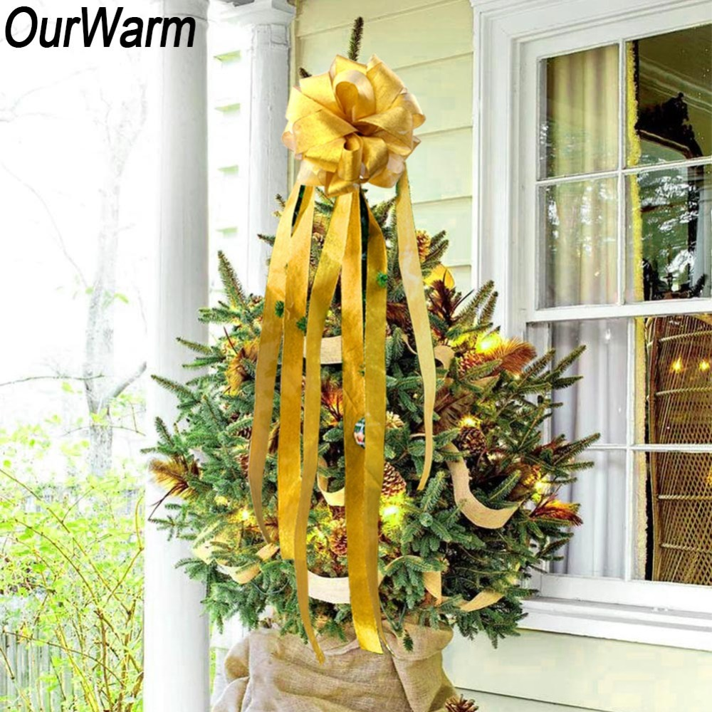 OurWarm Christmas Tree Topper Bow Christmas Tree Ribbon