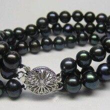 """3 ряда 7-8 мм браслет из черных жемчужин 7,"""" женский горячий модный браслет бусины для изготовления ювелирных украшений и розница"""