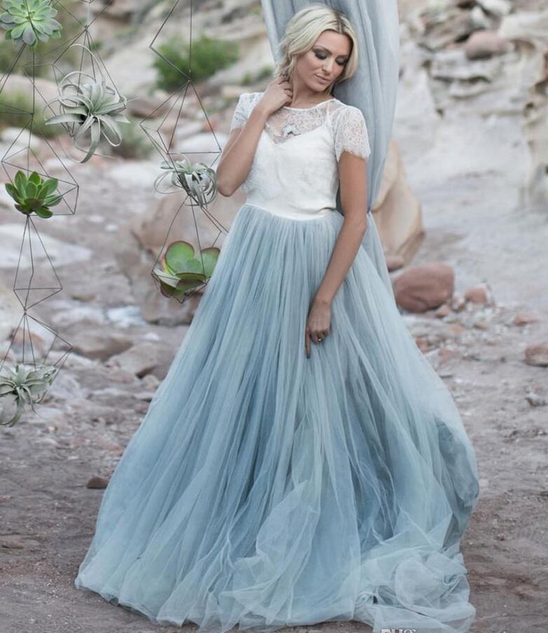 Popular light blue wedding gown buy cheap light blue for Blue short wedding dress