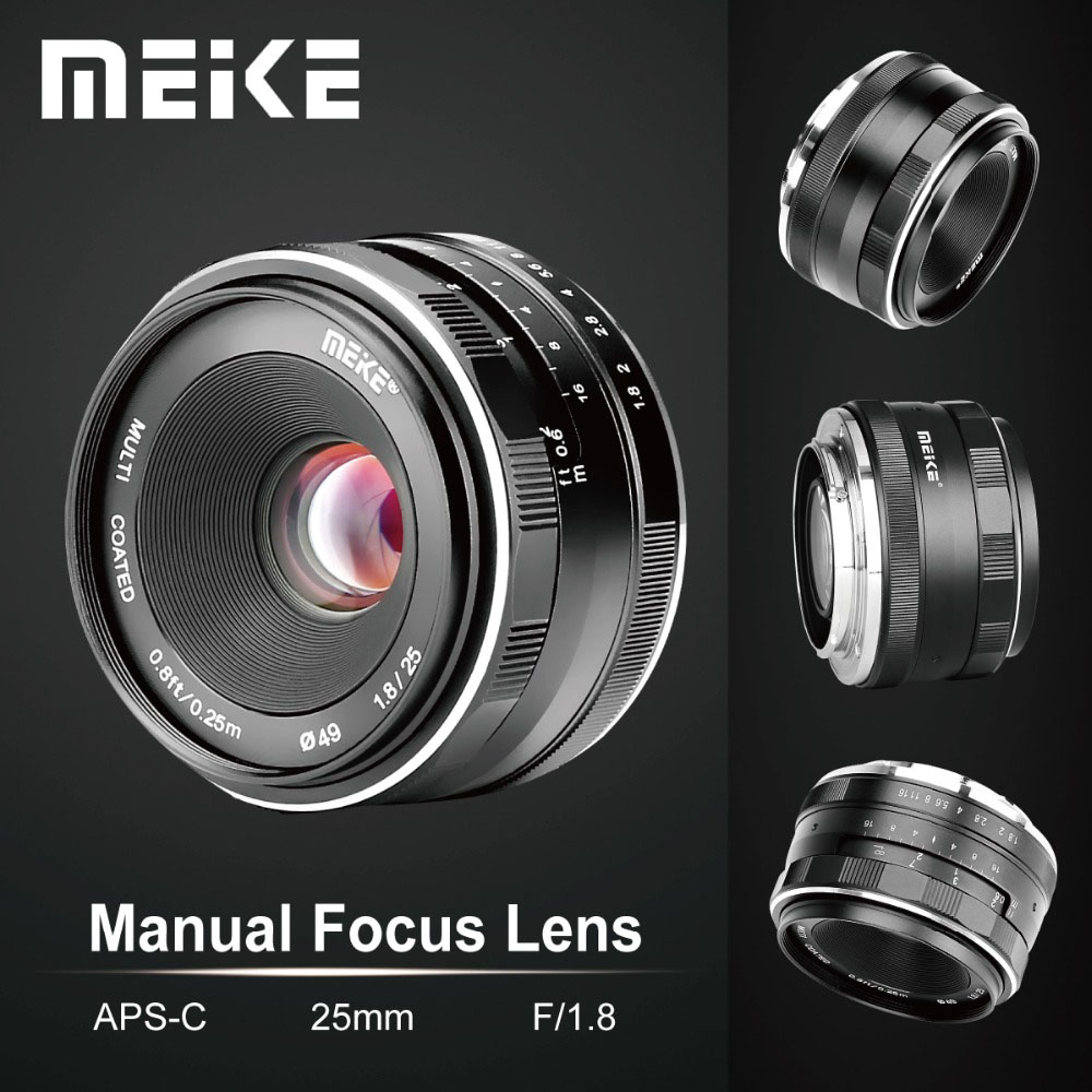 Meike 25mm APS-C F1.8 Manual Wide Angle Lens para Fuji X-mount/para Sony E Mount/ para Panasonic Olympus Câmera A7 A7II A7RII