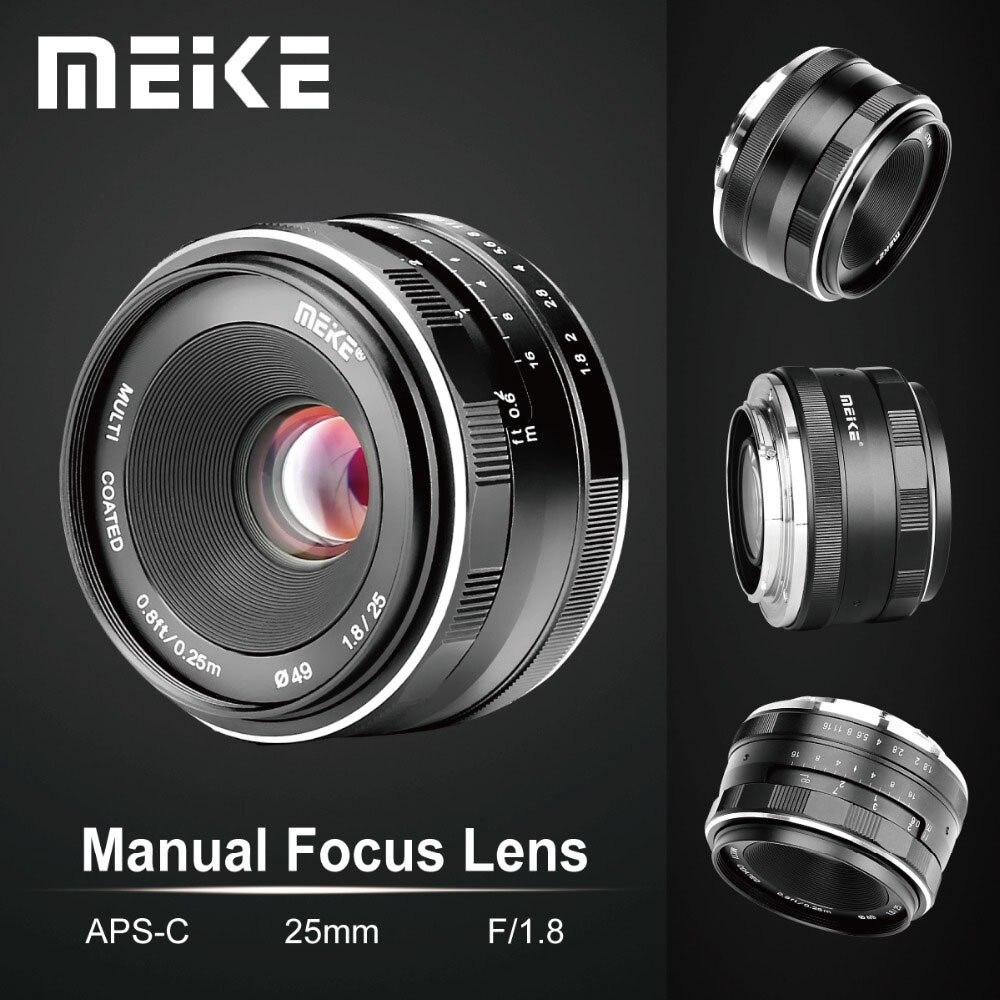 Meike 25mm f1.8 lente manual grande angular APS-C para montagem x fuji/para montagem sony e/para câmera olympus panasonic a7 a7ii a7rii