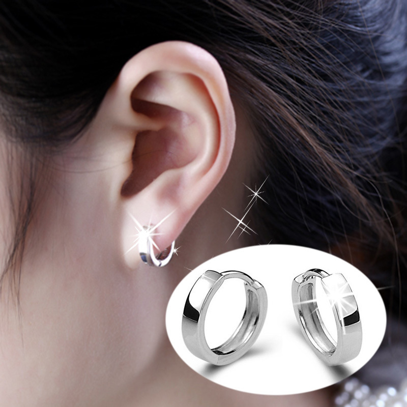 7e5bbe4fa High Quality Polished Silver Hoop Earrings Hypoallergenic Earrings Korean  Female Models Cute Glossy Small Ear Jewelry-in Hoop Earrings from Jewelry  ...