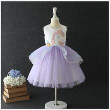 Unicorn dress baby girl carnival party children costumes for unicorn kids tulle cartoon