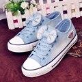 Envío Gratis Fashion Low Top Zapatos de Lona Del Cordón Zapatos de Lona de Mezclilla Zapatos Casuales con Pajarita Dulce Tamaño 35 ~ 39