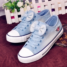 Free Shipping Women Fashion Low Top Canvas Shoes Lacing Denim Casual Shoes with Bow Tie Sweet Canvas Shoes Size 35~39