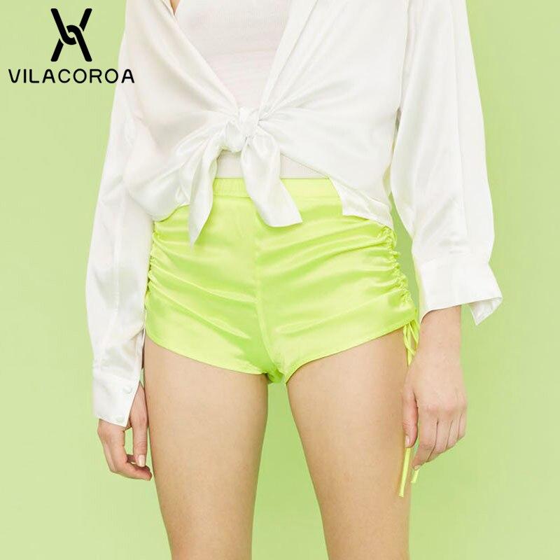 Fluorescent Green Drawstring   Shorts   Women Black High Waist Skinny Sport Fitness Biker   Shorts   Orange   Short   Femme Szorty Damskie