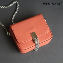 WOONAM Vrouwen Mode Designer Handtas Top Verbergen Echt Lederen Ketting Riem Box Camera Kwasten Cross Body Satchel Bag WB912(China)