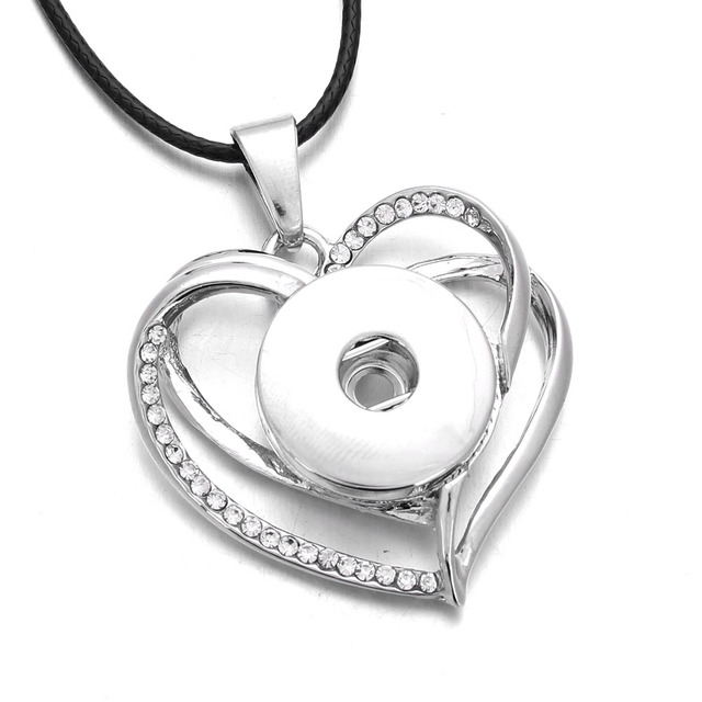 2018 New Snap Jewelry Crystal Heart Pendant Snap Necklace 18mm Snap Button  Jewelry Women Pendant Necklace